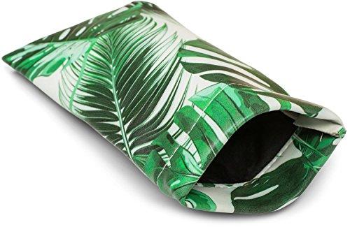 styleBREAKER Etui für Sonnenbrillen mit Palmen Print und Putztuch, Brillenetui mit Schnappverschluss, Unisex 09020086, Farbe:Grün-Weiß