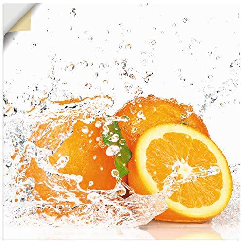 Artland Wandbild selbstklebend Vinylfolie 40x40 cm Wanddeko Wandtattoo Orange Früchte im Wasser Obst Lebensmittel T5UI