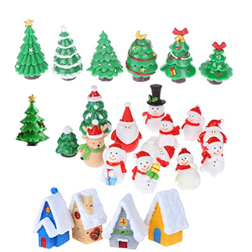 24 Pcs Miniature Resin Toys Christmas Tree Snowman Santa Claus Houses Figurines Fairy Garden Landscape Ornament Crafts