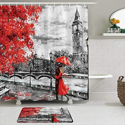 KISSENSU Badezimmer-Vorhang-Set,London Big Ben Urban Sight Europäische Straße Rote und Schwarze romantische...