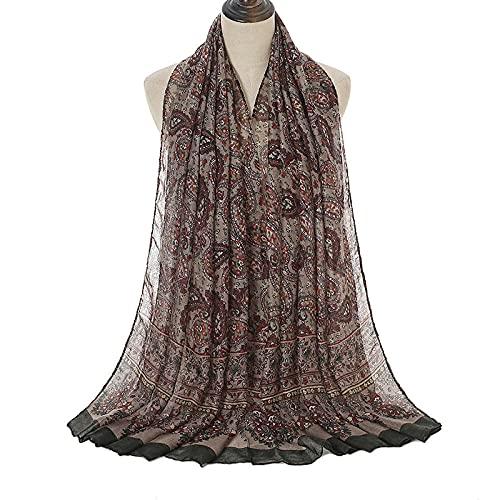 XINDUO Bufanda para Mujer,Impresión de Confort Barbi Spar-Army_180 * 90,Bufandas De Seda Suave para Mujer