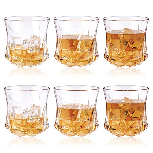 ChefBee Set of 6 Rock Style Old Fashioned Whiskey Glasses, Thick Weighted Bottom Crystal Tumblers, Perfect Gift for Scotch Lovers, Style Glassware for Bourbon/Rum glasses/Bar whiskey glasses