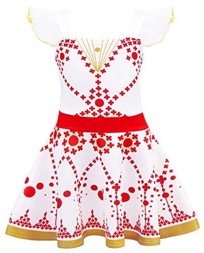 AmzBarley Robe de Félicie Ballerine Fille Enfant Déguisement Robes Danse Ballet Costume Fête Cosplay Halloween Anniversaire Soirée Habiller Cérémonie,5-6 ans,Rouge,120