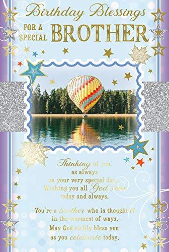 Geburtstagskarte für den Bruder mit religiösem Gedicht – Luftballon