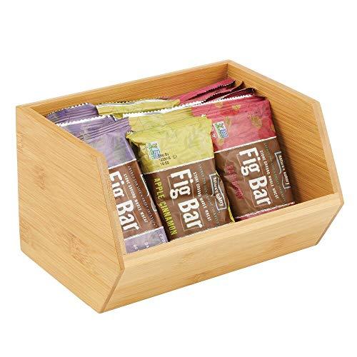 mDesign Gaveta apilable de madera – Caja organizadora multiusos para armarios de cocina, estanterías y superficies – Organizador de cocina abierto de bambú sostenible – color natural