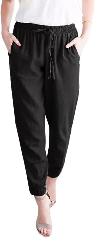 Chellysun Womens Linen Elastic Waist Drawstring Joggers Pants with Pockets