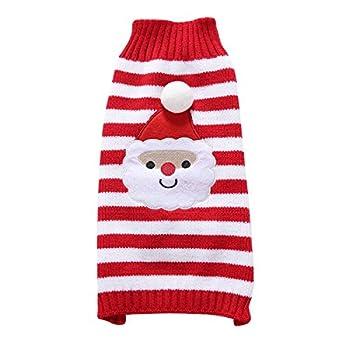 Tineer Pet Xmas Pull-Overs - Pull Chiot Sweater à Capuche Tricots Halloween Cartoon Chaud Manteau vêtements de Noël pour Petits Chiens Moyens Chats Lapins (M, Père Noël)