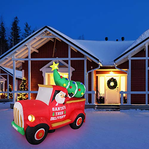ShinyDec Inflatables 7 ft. Red Truck with Santa Claus and Christmas Tree Large Airblown Xmas Outdoor Decoration for Holiday Yard