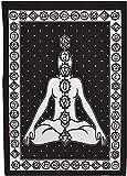 Schwarz-weiße 7-Chakra-Wandteppiche für Yoga, Meditation,