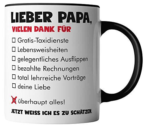 vanVerden Tasse - Lieber Papa vielen Dank für überhaupt alles - Tassen für Vatertag Spruch Vater - beidseitig Bedruckt - Geschenk Idee Kaffeetassen, Tassenfarbe:Weiß/Schwarz
