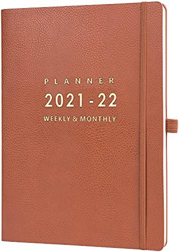 Eono by Amazon - Diary 2021-2022, A4 Week to View Diary, Da luglio 2021 a giugno 2022, Agenda, copertura in pelle marrone, chiusura elasticizzata, tasca posteriore, 21,7 x 28,3 x 1,5 cm