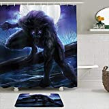 FAKAINU Shower Curtain Sets with Non-Slip Rugs,Fantasy World Surreal Werewolf with Electric Eyes in Full Moon Transformation Folkloric,Waterproof Bath Curtains Hooks and Bath Mat Rug Included