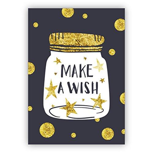 Prachtige verjaardagskaart voor leuke wensen: Make a wish • nobele felicitatiekaart voor verjaardag met envelop zakelijk & privé 4 Grußkarten