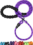TagME Reflective Dog Leads Slip Rope with Soft Padded Handle for Puppy Small Dogs,8mm Thick by 185cm,Purple