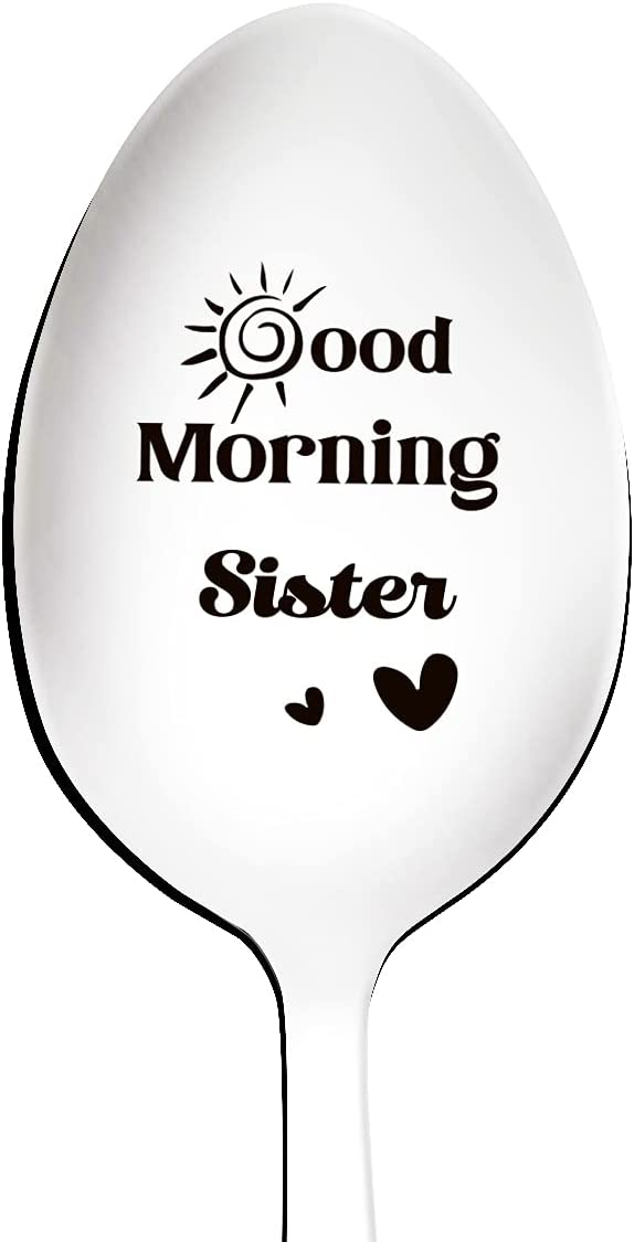 New product! New type Award Good Morning Sister Spoon Engraved Steel Funny Stainless