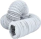 ZHONGXIN Conduits De Ventilation, Conduits De Ventilation Flexibles en Aluminium, Conduits d'air Ronds en PVC, pour Extracteur d'air, Hotte Sèche-Linge, Climatisation (ø 150mm/6m,White)