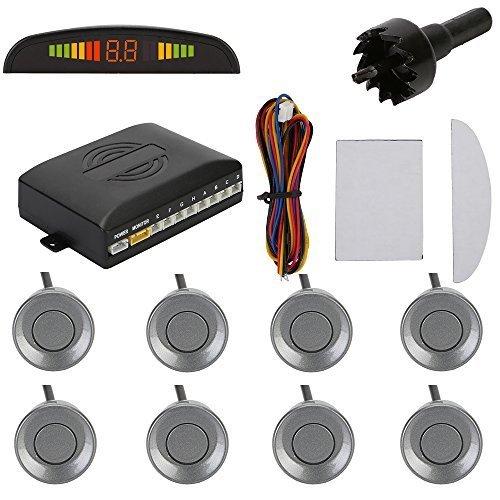 TKOOFN Kit Radar De Recul 8 Capteurs GRIS Auto Système Parcage Stationnement Numérique Ecran LED