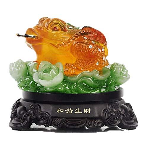 Feng-Shui-Jade-Geldfrosch, natürliches Harz, dreibeiniger Geldfrosch, Reichtum, sitzt auf Lotus-Statue, Dekoration für zu Hause oder Büro