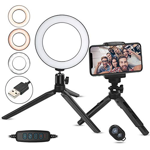 Zacro Ring Light LED, LED Luce ad Anello for YouTube Video and Makeup, LED Camera Light with Cell Phone Holder Desktop LED Lamp with 3 Light Modes & 10 Luminosità Regolabile