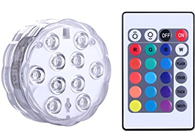 Submersible LED Lights - Qoolife Remote control Battery Powered, RGB Multi Color Changing Waterproof Light for Vase Base, Floral, Aquarium, Pond, Wedding, Halloween, Party, Christmas