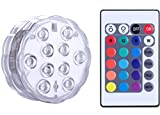 Qoolife Submersible LED Lights Remote Control Battery Powered, RGB Multi Color Changing Waterproof Light for Vase Base, Floral, Aquarium, Pond, Wedding, Halloween, Party, Christmas, Set of 1