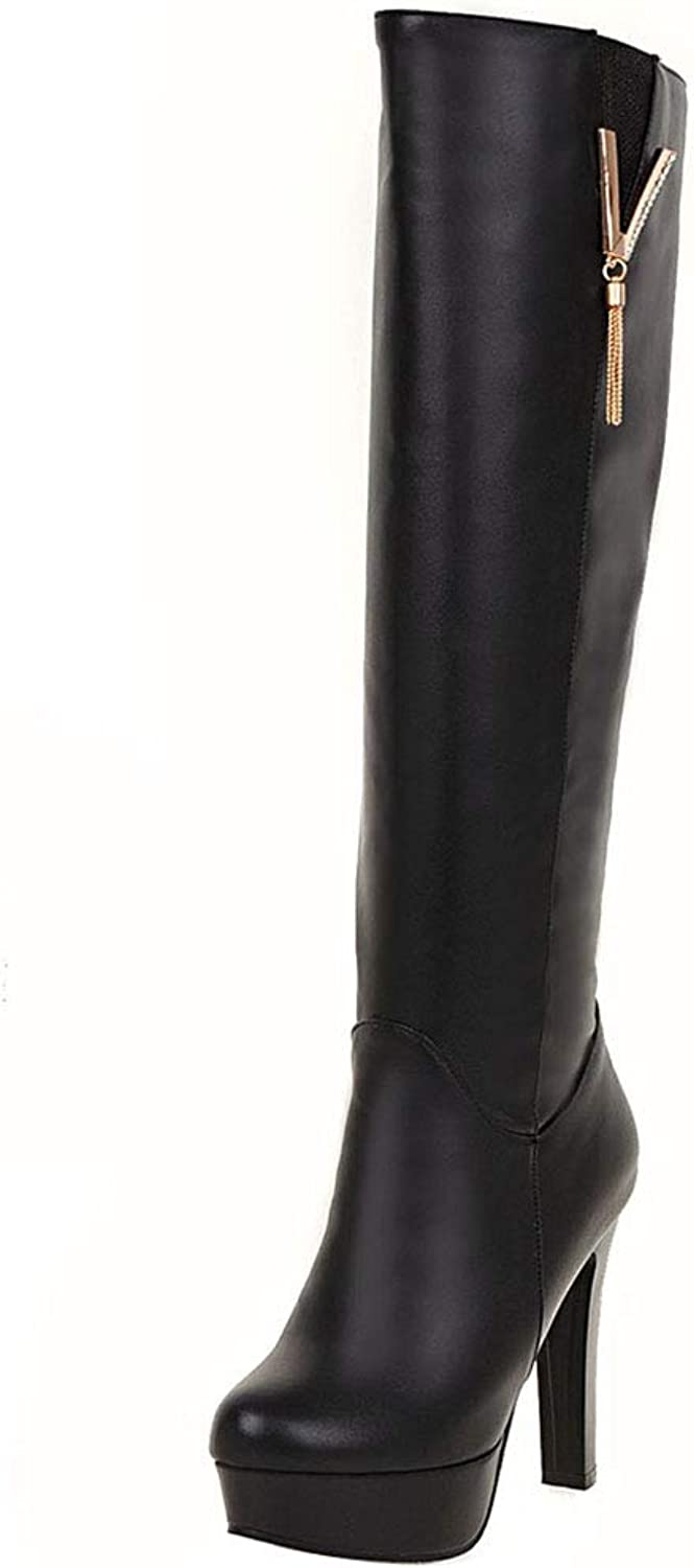 FANIMILA Office Lady Boots Round Toe High Heels Boots Knee High Platform Boots