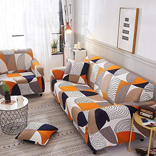 INGHU Schonbezug Sofahusse, Stretch-Stoff, Couch-Bezug, Sofa-Möbelschutz, kompletter Bezug maschinenwaschbar - 2-Sitzer - Muster 2