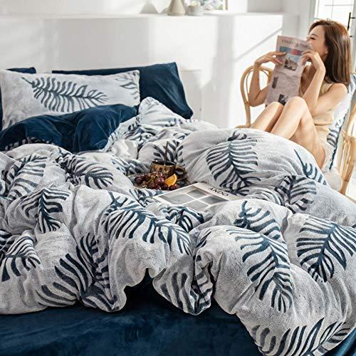 Qianqingkun Doppelseitiger Bettbezug, vierteiliges Dickes Korallenvlies, Flanellblätter, Bettwäsche-S_1,8 Bettlaken 4-teiliges Set