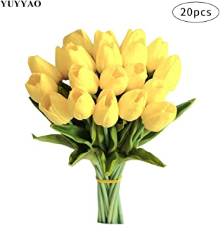 YUYYAO 20 pcs Artificial Tulips Flowers Latex Real Touch Fake Flower Bouquets for Wedding Home Office Party Decoration (Yellow)