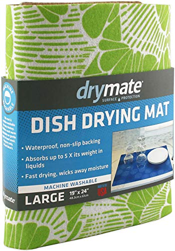 "Drymate Dish Drying Mat, Premium XL Size (19"" x 24""), Kitchen Dish Drying Pad – Absorbent/Waterproof – Machine Washable (Made in the USA) (Surf Green 3)"
