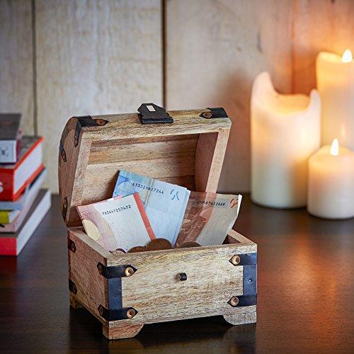 Casa Vivente – Geld-Schatztruhe mit Gravur zur Hochzeit – Motiv: Herzen – Personalisiert mit [Namen] und [Datum] – Schmuckkästchen aus hellem Holz – Verpackung für Geldgeschenke – Hochzeitsgeschenke - 4