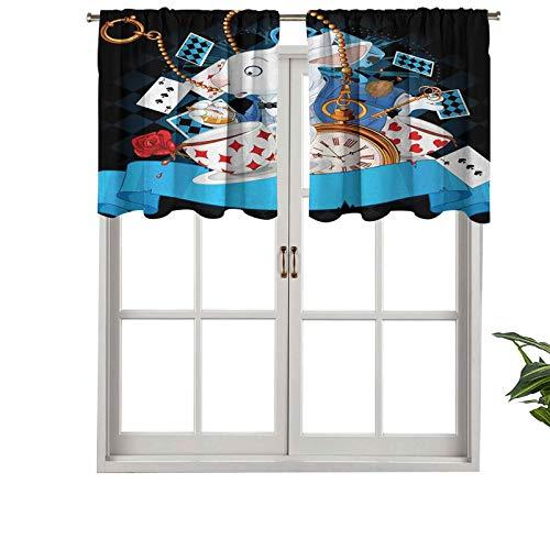 Hiiiman Cortinas cortas opacas con bolsillo para barra, copas de movimiento de conejo, corazones y flores, diseño de Alicia, juego de 1, cenefas pequeñas de media ventana de 137 x 45 cm para cocina