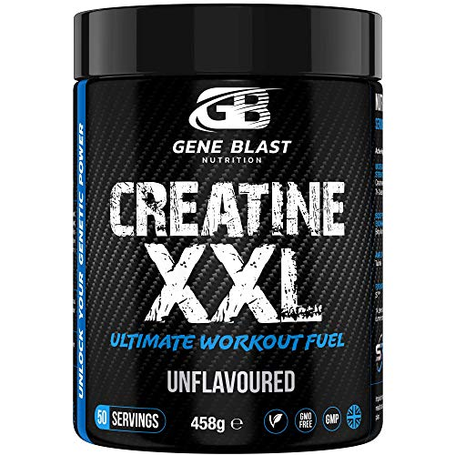 Gene Blast CREATINE XXL–Tri-Creatine Malate Plus Creatine Monohydrate w/ Added Endurance & Pump Boosters to Amplify Strength-Endurance-Muscle Pumps & Recovery 458g 50 Servings (Unflavoured)