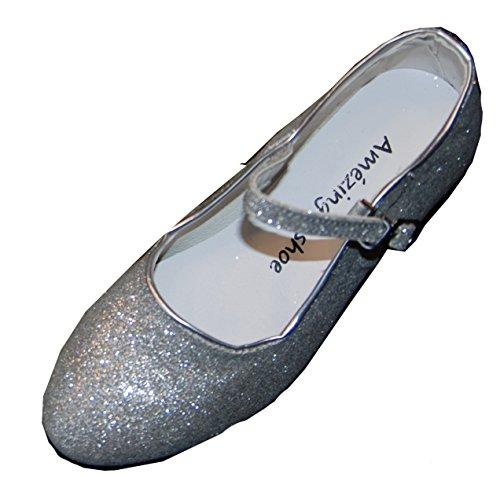 Helgas Modewelt Amazing Schuhe, Kommunionschuhe, Klackerschuhe, Kinderschuhe, Glitzer, Silber, Gr. 33