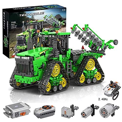 SXLCKJ Technics Tractor RC con 3 Motores y 1 Receptor, 1706 Piezas 2.4G Tractor de orugas con Control Remoto en Las Cuatro Ruedas Construcción T (Coche Inteligente)