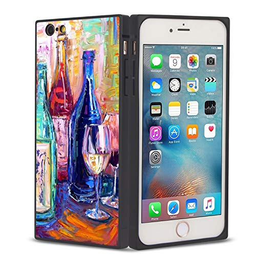 FAUNOW Funda de teléfono cuadrada iPhone 6/6S Plus Copa de vino anti-choque protectora flexible Premium cubierta para iPhone 6/6S Plus