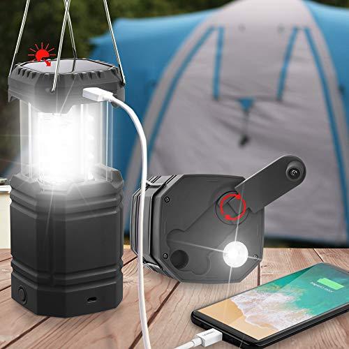 Linterna de Camping con Manivela Solar, Farol LED Ultrabrillante Portátil, 30-35 Horas de Funcionamiento, Cargador USB, Banco de Energía de 3000mAh, Linterna Electrónica para Exteriores, Emergencia