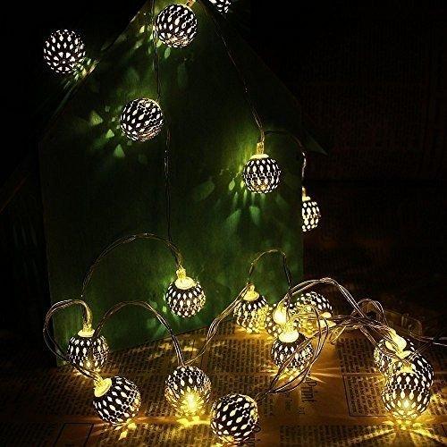 5M 40 LED LED Globus Lichterketten Dekorative Marokkanische Kugeln batteriebetrieben Silber Geschnitzt Globen für Außen, Innen, Garten, Home (Warm Weiss)