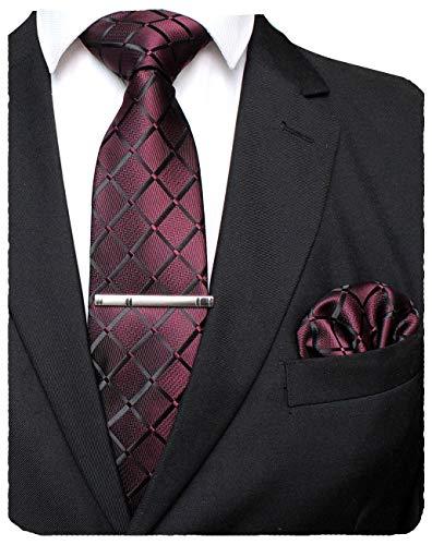JEMYGINS Weinrot seide Plaid Krawatte und Einstecktuch mit krawattenklammer Set für Herren Seidenkrawatten Hochzeit Schlips (7)