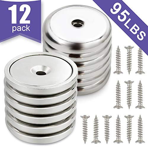 Neodymium Cup Magnets Strongest Round Base MagnetsHold up to 95 Pounds  12pack
