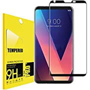LG V30 Tempered Screen Protector,Lostep[Anti-Scratch][9H Hardness][Scratch Resistant][Bubble-Free] HD Clear Film Screen Protector LG V30(Black)