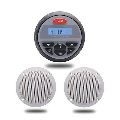 Bluetooth Stereo Marine USB MP3 Reproductor Musical Radio FM AM Sistema de Sonido de Audio Aux RCA 1Pairs 2 Vías 4 Pulgadas Blanco Marine Speakers