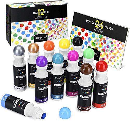 Waschbare Marker, Magicfly 12 Farbige Bingo Marker Dot Dabber Kinder Stifte mit Malbuch, Dauber Marker für die Kinder in der Vorschule, Kindergarten