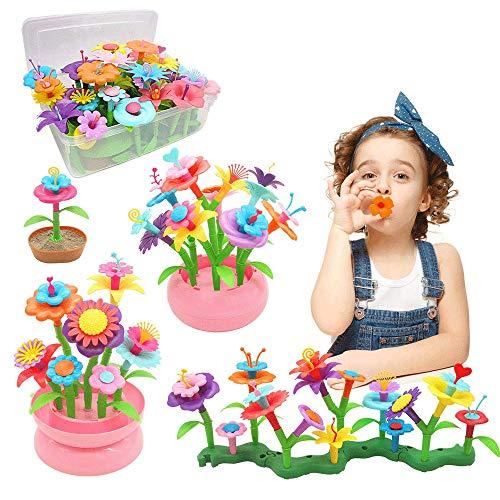 YORKOO Kinder Blumengarten Spielzeug für Mädchen 150pcs DIY Bouquet Sets für Kinder Blume Bausteine Outdoor Spiele für Kinder Geschenke ab 3 4 5 6 Jahre Mädchen