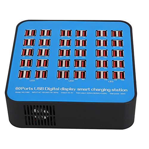 Lazmin112 Estación de Carga USB, concentrador de Carga USB Inteligente de 60 Puertos y 300 W, detección automática y monitorización de Corriente, para Varios Dispositivos(Enchufe DE LA UE)