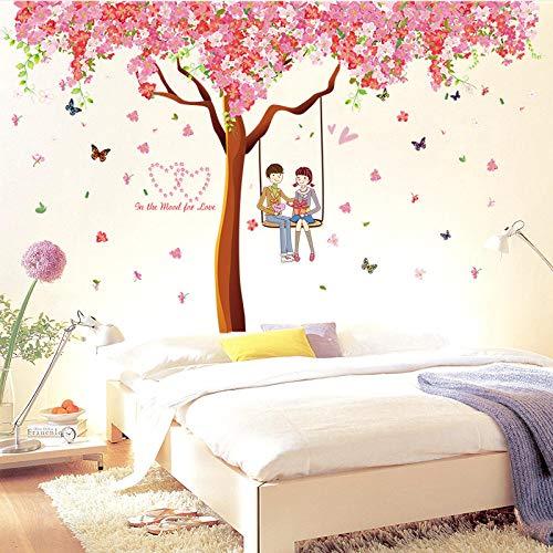 YLMJK Wandaufkleber Kirschblütenbaum 217x220cm Wandtattoo Removable Hintergrund für Schlafzimmer Home Dekoration Wandsticker Wohnzimmer Dekoration
