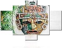 マヤのマスクの写真国立インドのトーテム絵画リビングルームのメキシコの壁の芸術キャンバス上のマルチパネルプリントアステカとインカアートワーク家の装飾