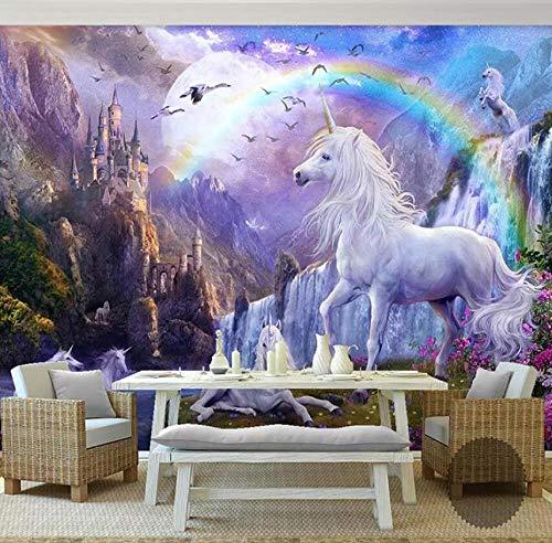 3D behang vliesfotobehang fotobehang wandschilderij olieverfschilderij landschap paard waterval regenboog foto 3D wand voor woonkamer 250*175 250*175