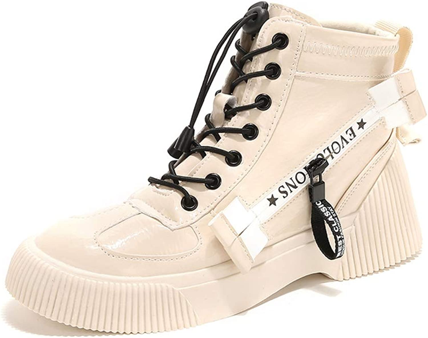 Women's Casual shoes Vintage Patent Leather shoes Fashion Platform shoes HighTop Sneakers Fashion Martin Boots,B,40