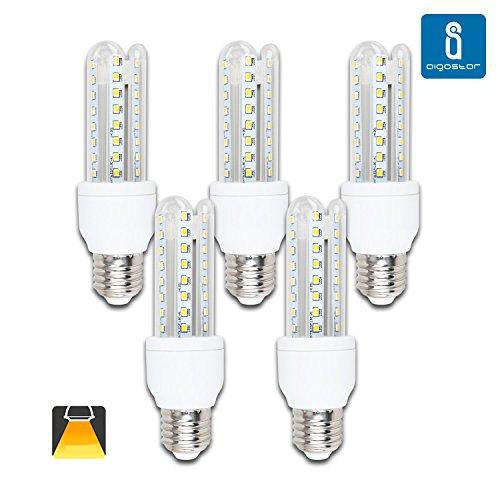 Aigostar - Pack de 5 Bombillas LED B5 T3 3U, 9W equivalente a 70W , 720lm, casquillo gordo E27, luz calida 3000K [Clase de eficiencia energética A+